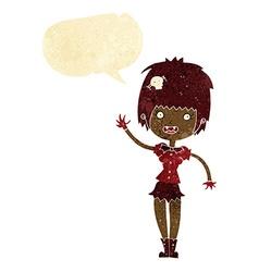 Cartoon waving vampire girl with speech bubble vector
