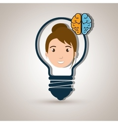 Character idea brain icon vector