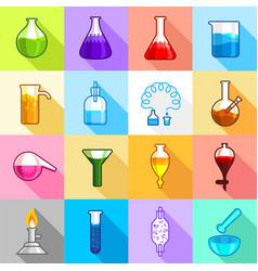 chemistry laboratory icons set flat style vector image