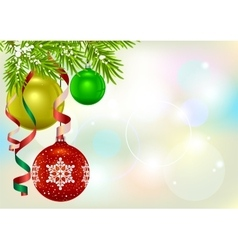 Christmas card template Fir branch and Christmas vector image vector image