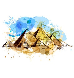Colored hand drawing pyramids vector