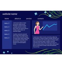 dark blue website template with flora vector image