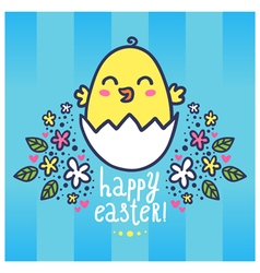 Easter greeting card with a cute chicken in the vector image