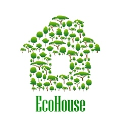 Eco house symbol with green trees and plants vector image
