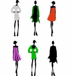 fashion girls designer silhouette sketch vector image