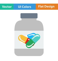 Flat design icon of Fitness pills in container vector image vector image