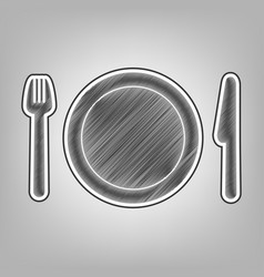 Fork plate and knife pencil sketch vector