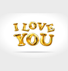 golden i love you sign gold inflatable balloons vector image vector image