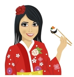 Japanese woman eating sushi with chopsticks vector