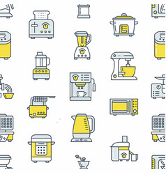 Kitchen small appliances equipment seamless vector