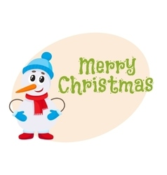 Merry christmas greeting card template with little vector