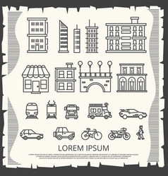 Modern city elements on vintage poster - line art vector