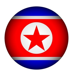 North korea flag button vector