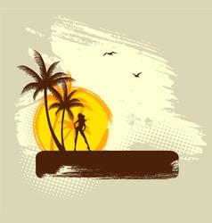 palms girl banner grunge vector image vector image