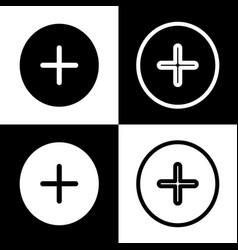 Positive symbol plus sign black and white vector