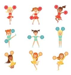 Primary school little girls in cheerleaders vector