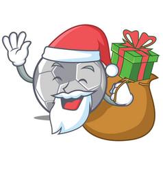 Santa with gift football character cartoon style vector