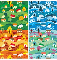 Seamless patterns with 4 seasons - vector image vector image