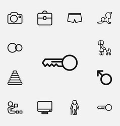 Set of 12 editable family outline icons includes vector