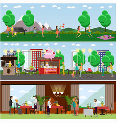 set of lovers posters banners in flat vector image vector image