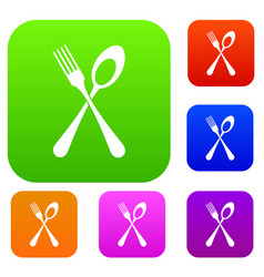 Spoon and fork set collection vector