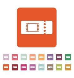 The blank cinema ticket icon vector image
