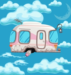 Trailer flying in clouds on a background of the vector