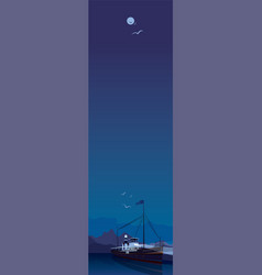 vertical landscape with ship in clear night vector image
