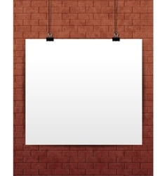 White poster mock-up on the brick wall vector
