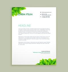 Eco green leaf letterhead design vector