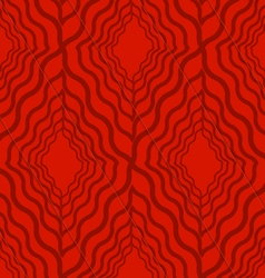 Retro 3d red wavy diamonds vector