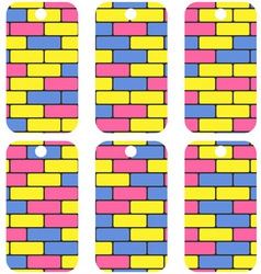 tags with colorful bricks vector image