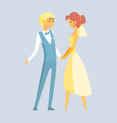 Bride and groom holding hands at wedding day vector