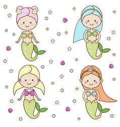 Cute mermaids characters vector