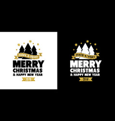 Gold glitter merry christmas quote greeting card vector