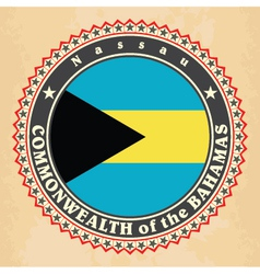 Vintage label cards of bahamas flag vector