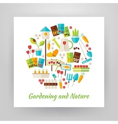 Flat style circle set of nature gardening and vector