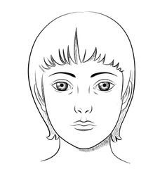 Black and white lineart portrait of a woman vector