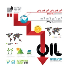 Infographic oil business of the world arrow concep vector image
