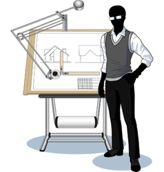 Silhouette architect presenting his blueprint vector