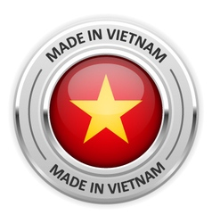 Silver medal made in vietnam with flag vector