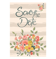 Save the date with flowers and stripes pink vector