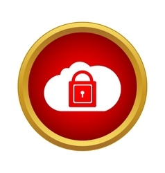 Cloud with closed padlock icon in simple style vector