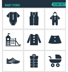 Set of modern icons baby items clothes vector