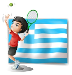 A tennis player and the flag of Greece vector image