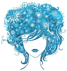 Abstract girl with snowflakes in hair vector image