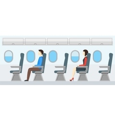 Airplane transport interior retro travel vector
