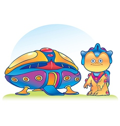 Alien and spaceship vector image vector image