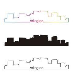 Arlington skyline linear style with rainbow vector