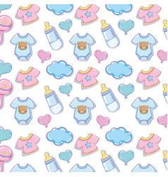 Baby clothes and elements background vector